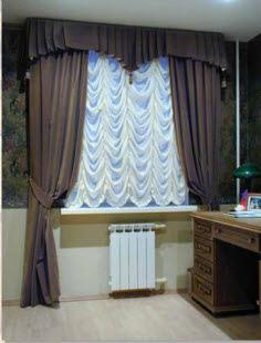 пример австрийских штор в комнате с одним окном